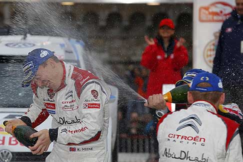 Rally WCR 2014 - Meeke celebrates his first WRC podium, Monte Carlo Rally
