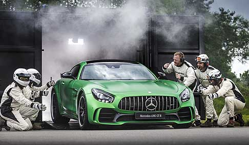 Mercedes-Benz - Mercedes AMG GT R world premiere at the Brooklands Circuit in UK