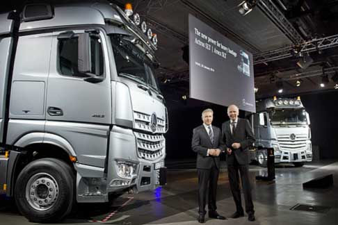 Mercedes-Benz - Mercedes-Benz Arocs SLR and Actros SLR with Stefan Buchner, Head of Mercedes-Benz Trucks (Left) and Ulrich Bastert, Hea of Sales and Marketing Mercedes-Benz Trucks