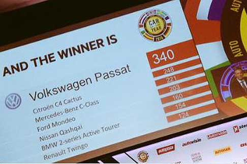 Car of the Year 2015 - Auto dell´anno 2015 classifica finale delle 7 finaliste Volkswagen Passat passa con 340 voti