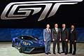 Ford GT and Leadership: Mark Fields, president and chief executive officer, Joe Hinrichs, executive vice president and president, The Americas, Raj Nair, group vice president and chief technical officer, Global Product Development with the new Ford GT