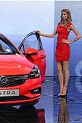Beatiful model Opel Astra al Francoforte Motor Show 2015