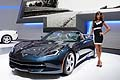 Corvette Stingray Convertible and hostess at Frankfurt Motor Show 2013