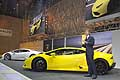 Stephan Winkelmann and Lamborghini Huracan LP 610-4 at the 2014 Geneva Motor Show