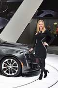 Cadillac CTS-V and hostess at the Geneva Motor Show 2015