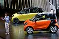 Dr Annette Winkler, Head of Smart presents the new Smart Fortwo and Forfour at the Paris Motor Show 2014