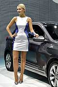 Hyundai i20 and model at the Paris Motorshow 2014