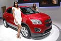 Hostess and Chevrolet Trax on the Chevrolet stand at the 2012 Paris Motor Show