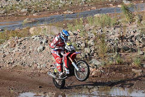 San Juan - Chilecito - Israel Esquere Jeremias on bike Honda, action during the Dakar 2015 - 3° stage